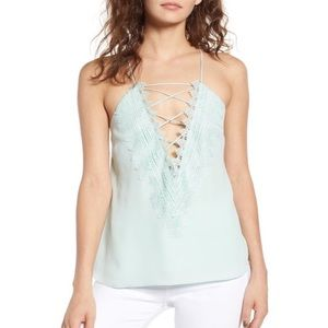 Wayf Posie Cami Tank Top Strappy Mint Green Lace